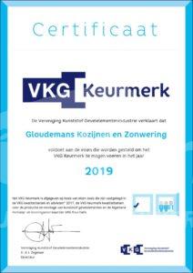 Gloudemans Kozijnen en Zonwering ook in 2019 VKG gecertificeerd